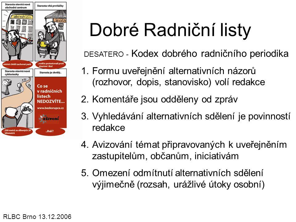 Dobré Radniční listy DESATERO - Kodex dobrého radničního periodika