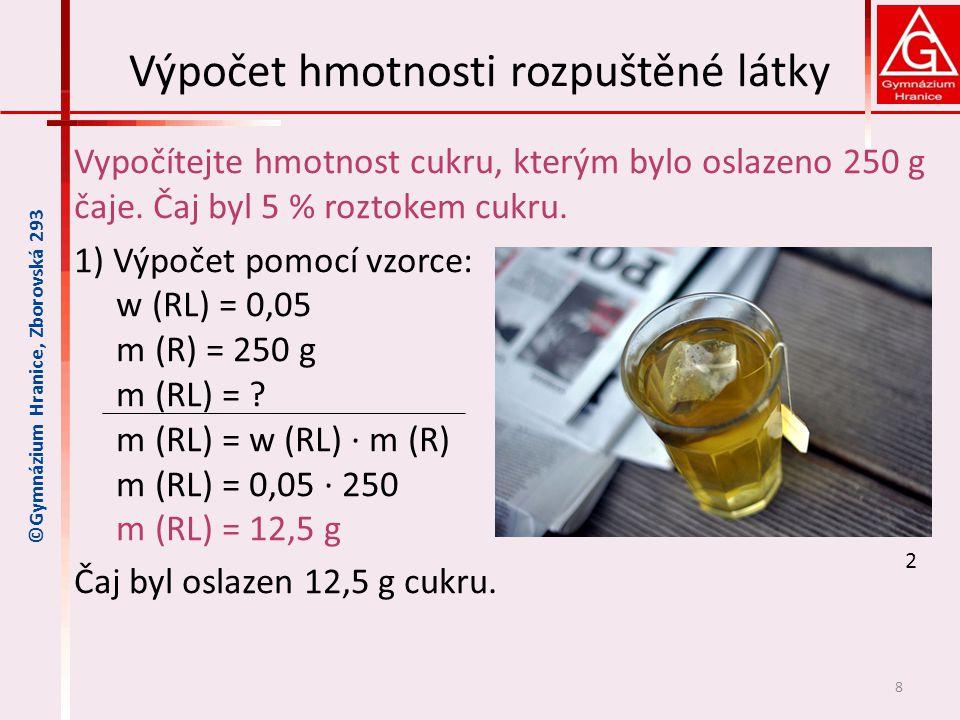 Výpočet hmotnosti rozpuštěné látky