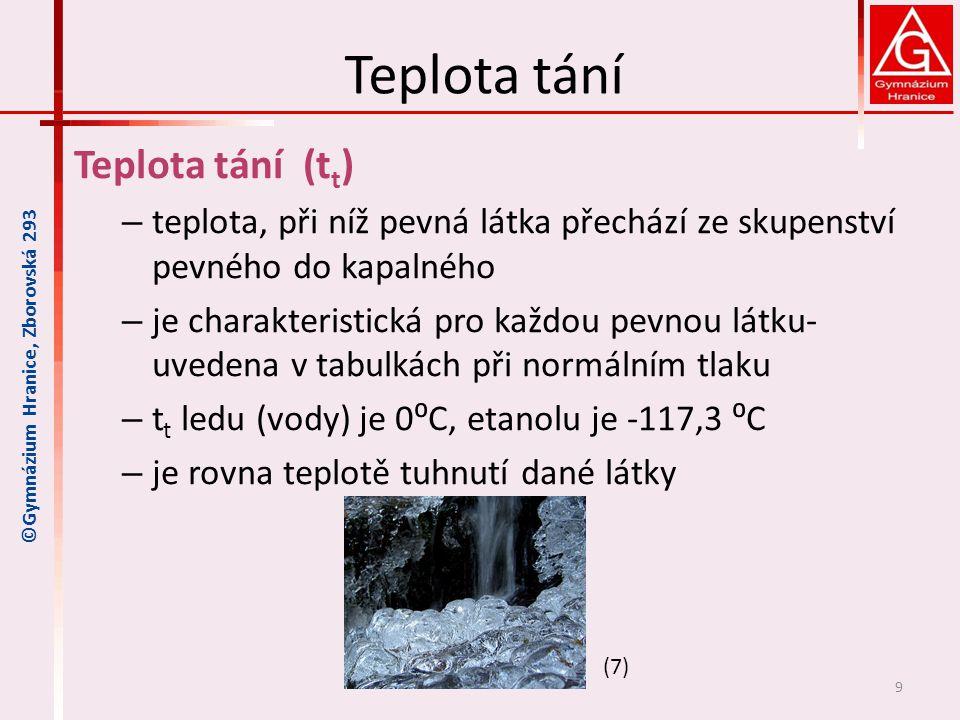 Teplota tání Teplota tání (tt)