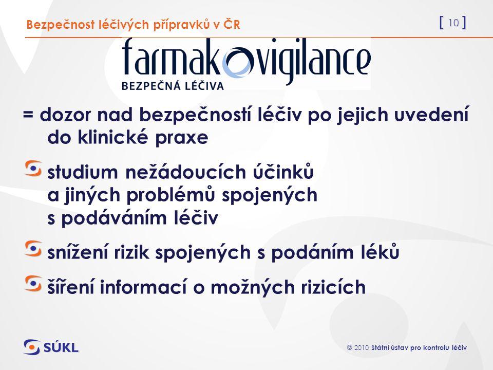 = dozor nad bezpečností léčiv po jejich uvedení do klinické praxe