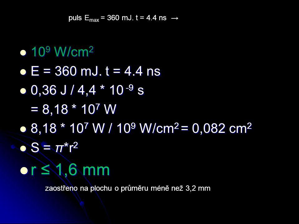 r ≤ 1,6 mm 109 W/cm2 E = 360 mJ. t = 4.4 ns 0,36 J / 4,4 * 10 -9 s