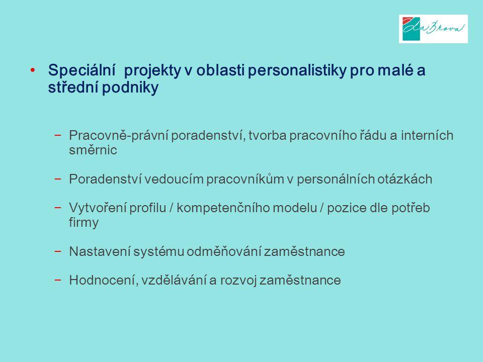 Speciální projekty v oblasti personalistiky pro malé a střední podniky