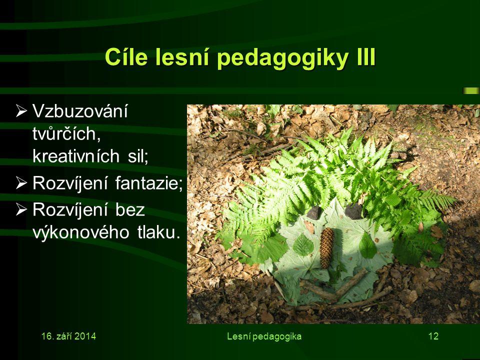 Cíle lesní pedagogiky III