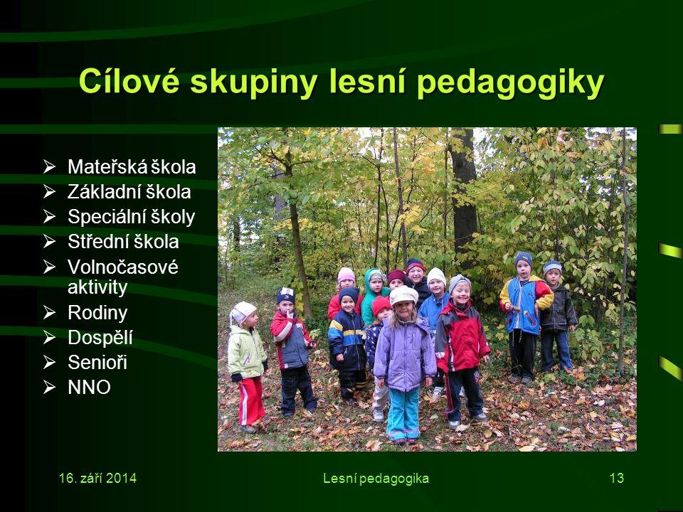 Cílové skupiny lesní pedagogiky