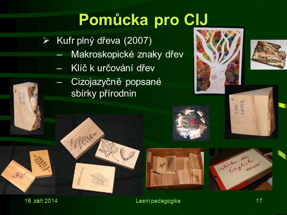 Pomůcka pro CIJ Kufr plný dřeva (2007) Makroskopické znaky dřev