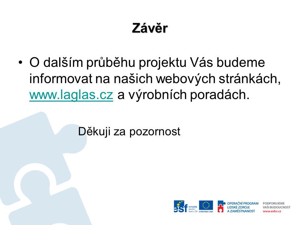 Závěr O dalším průběhu projektu Vás budeme informovat na našich webových stránkách, www.laglas.cz a výrobních poradách.