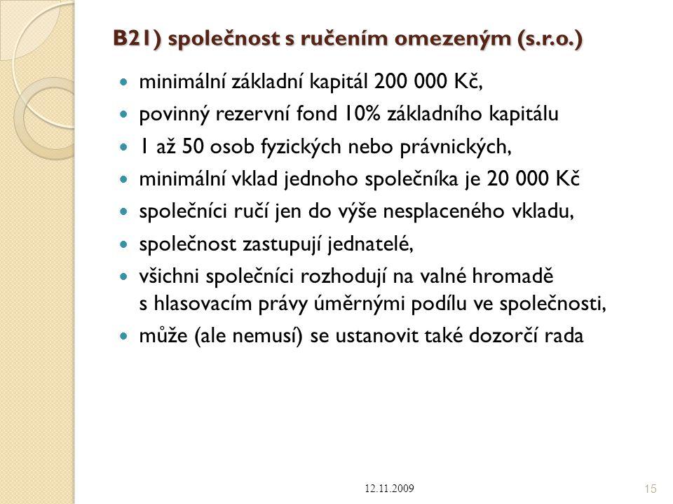 B21) společnost s ručením omezeným (s.r.o.)