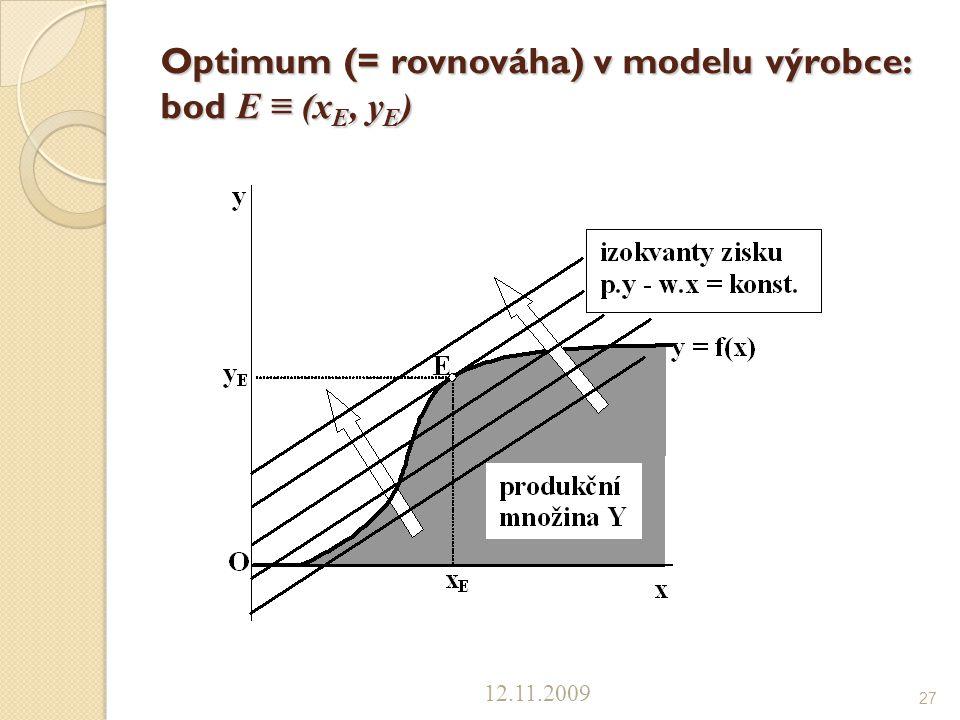 Optimum (= rovnováha) v modelu výrobce: bod E ≡ (xE, yE)