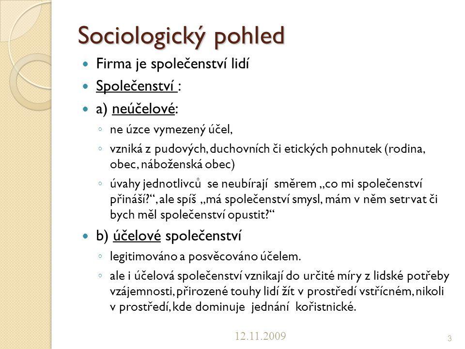 Sociologický pohled Firma je společenství lidí Společenství :