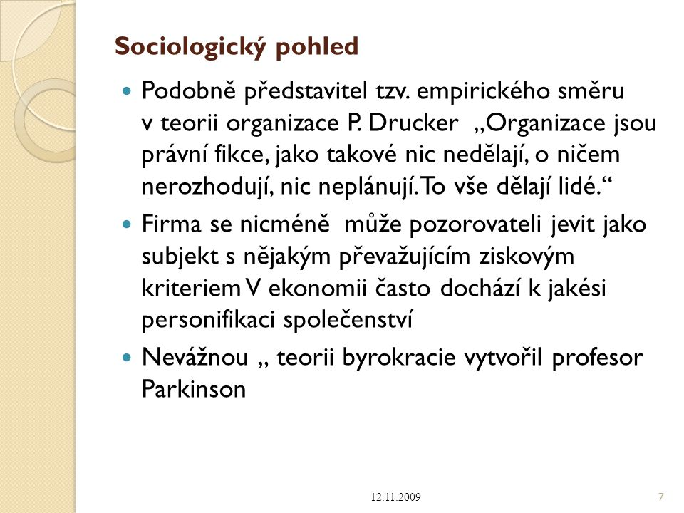 """Nevážnou """" teorii byrokracie vytvořil profesor Parkinson"""