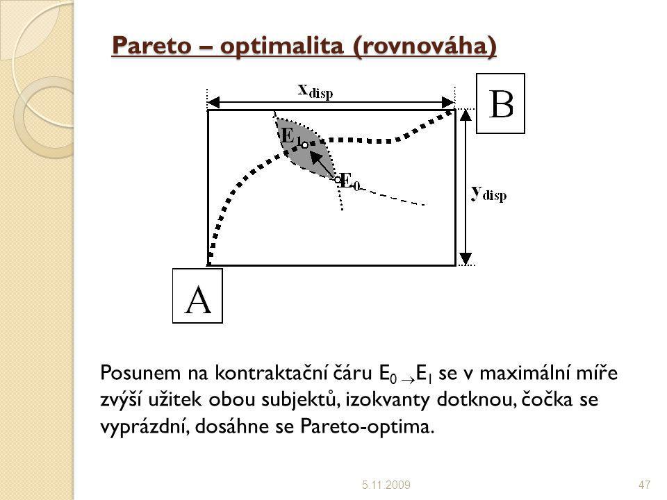 Pareto – optimalita (rovnováha)