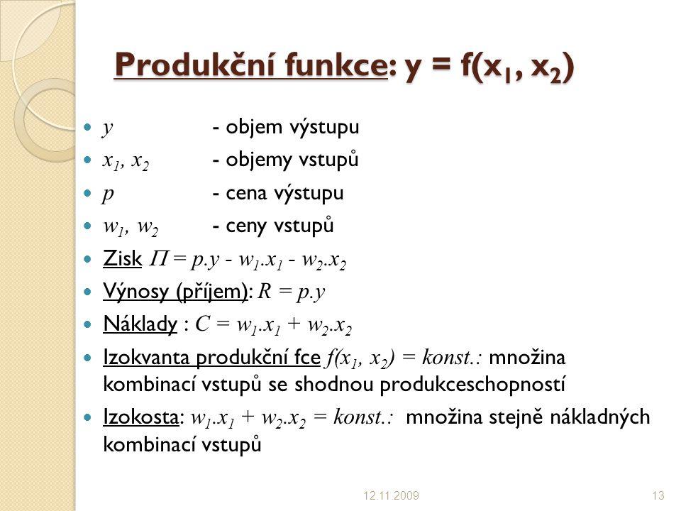 Produkční funkce: y = f(x1, x2)