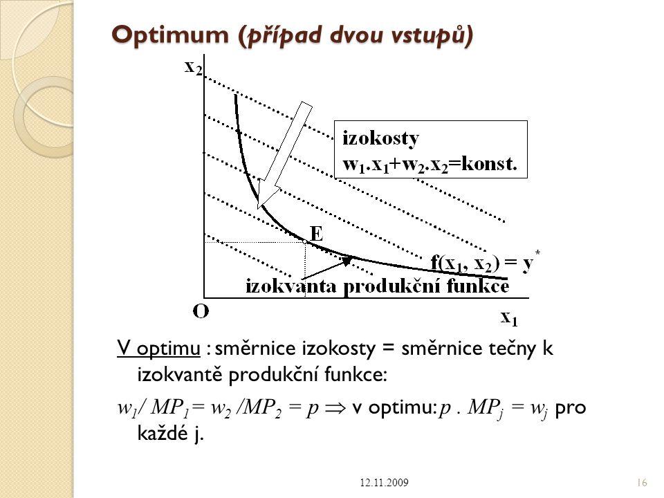 Optimum (případ dvou vstupů)