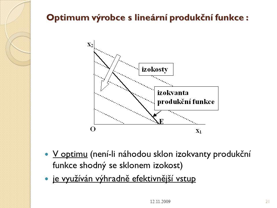Optimum výrobce s lineární produkční funkce :