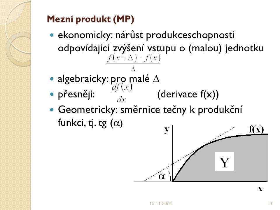 algebraicky: pro malé  přesněji: (derivace f(x))