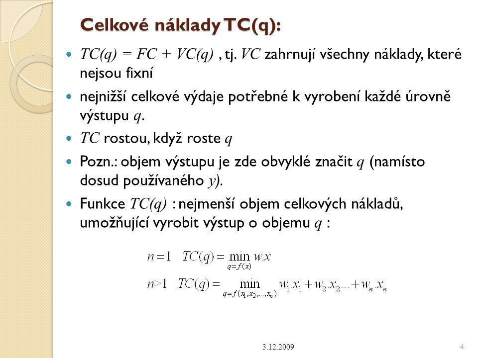 Celkové náklady TC(q):