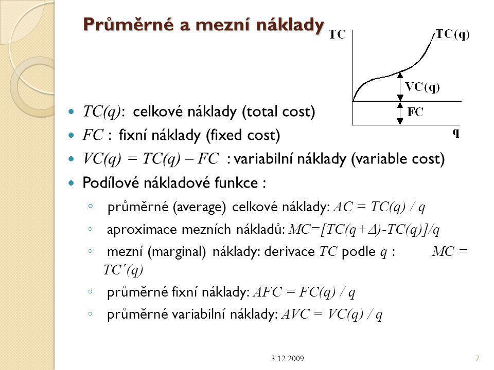 Průměrné a mezní náklady