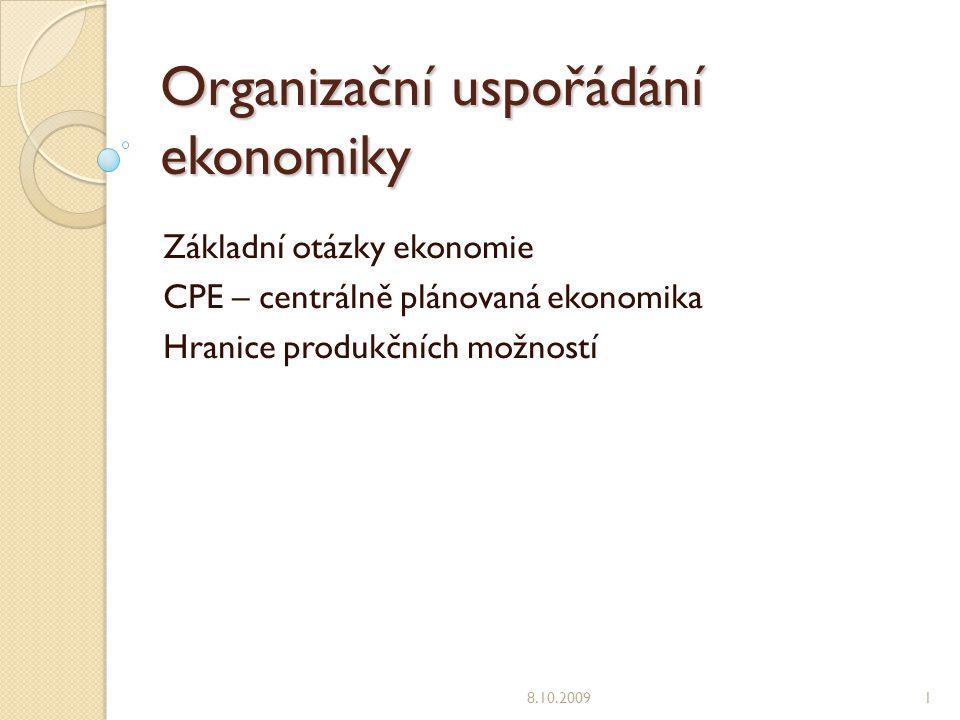Organizační uspořádání ekonomiky