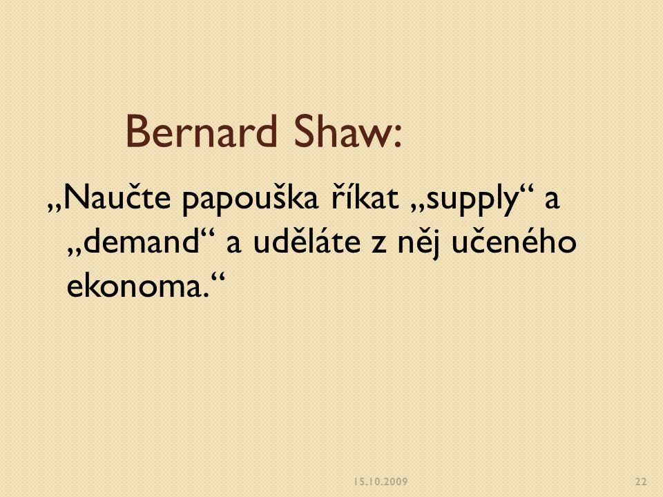 """Bernard Shaw: """"Naučte papouška říkat """"supply a """"demand a uděláte z něj učeného ekonoma. 15.10.2009."""