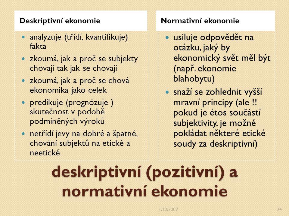 deskriptivní (pozitivní) a normativní ekonomie