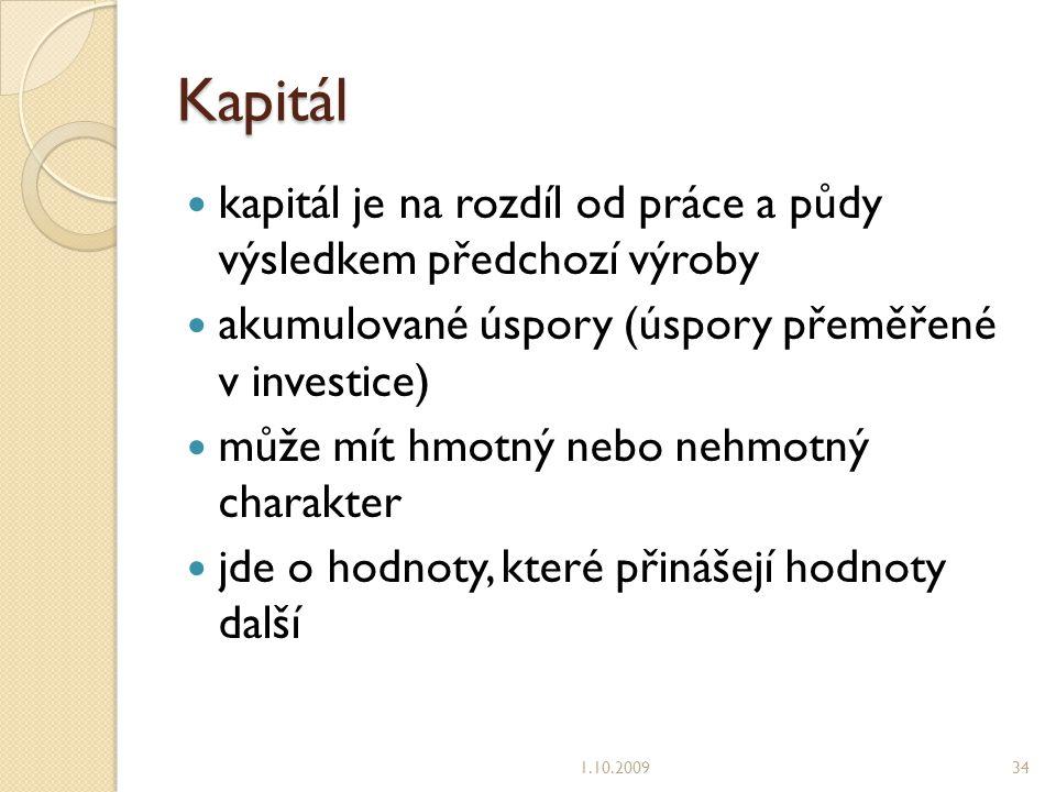 Kapitál kapitál je na rozdíl od práce a půdy výsledkem předchozí výroby. akumulované úspory (úspory přeměřené v investice)