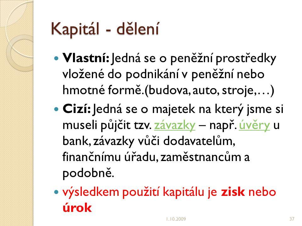 Kapitál - dělení Vlastní: Jedná se o peněžní prostředky vložené do podnikání v peněžní nebo hmotné formě.(budova, auto, stroje,…)