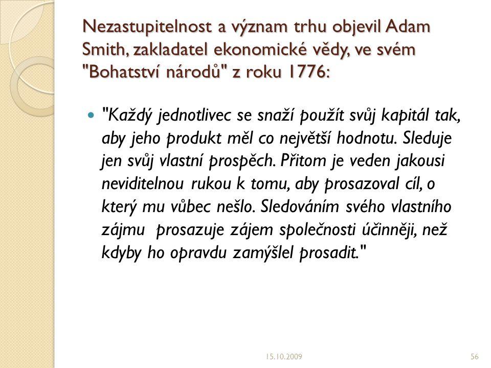 Nezastupitelnost a význam trhu objevil Adam Smith, zakladatel ekonomické vědy, ve svém Bohatství národů z roku 1776:
