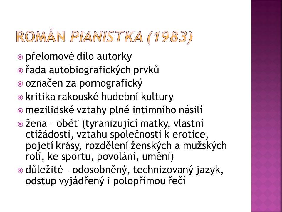 Román Pianistka (1983) přelomové dílo autorky