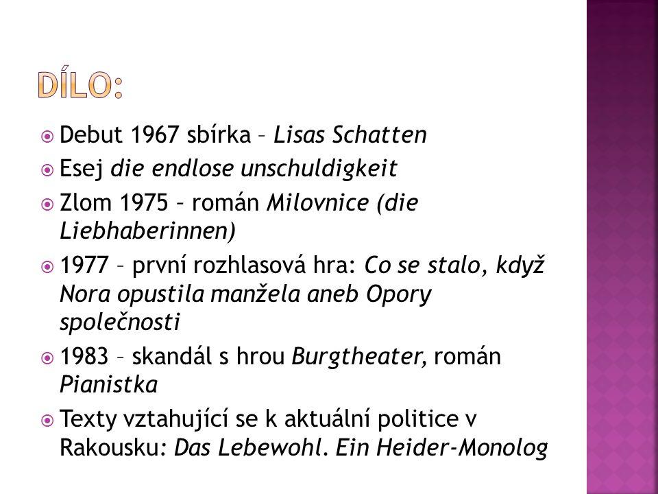 Dílo: Debut 1967 sbírka – Lisas Schatten