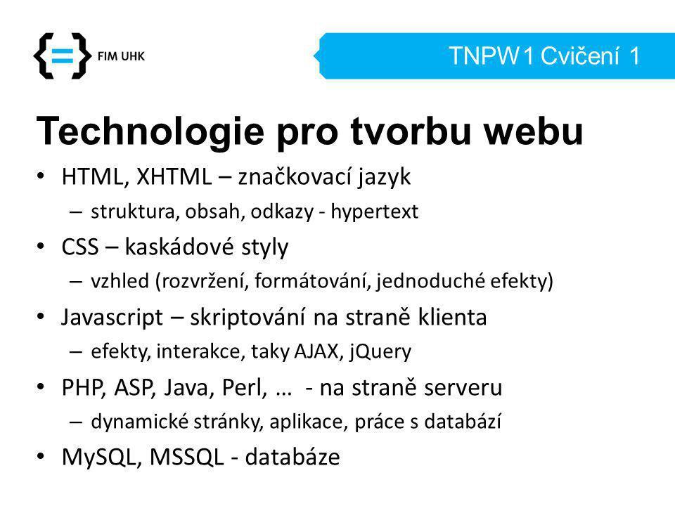 Technologie pro tvorbu webu