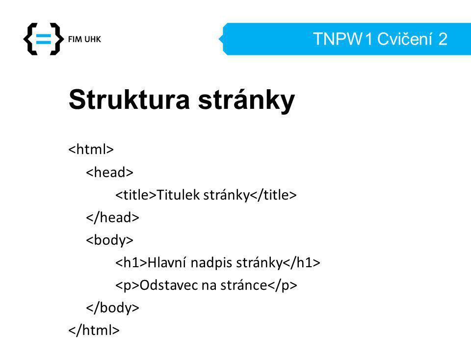 Struktura stránky TNPW1 Cvičení 2 <html> <head>