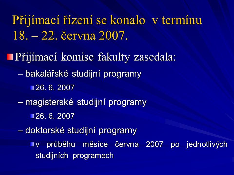 Přijímací řízení se konalo v termínu 18. – 22. června 2007.