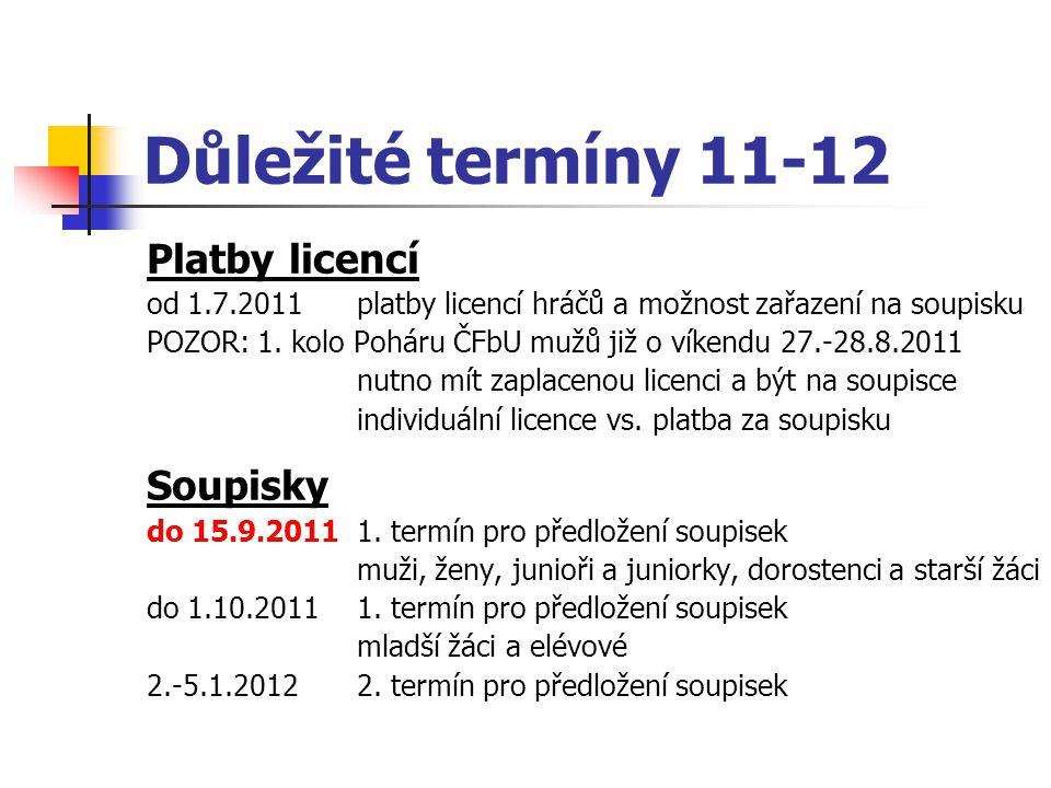 Důležité termíny 11-12 Platby licencí Soupisky