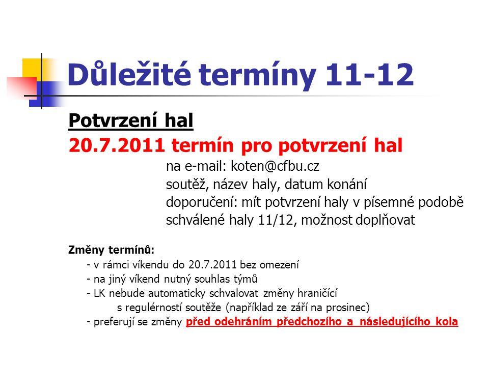 Důležité termíny 11-12 Potvrzení hal