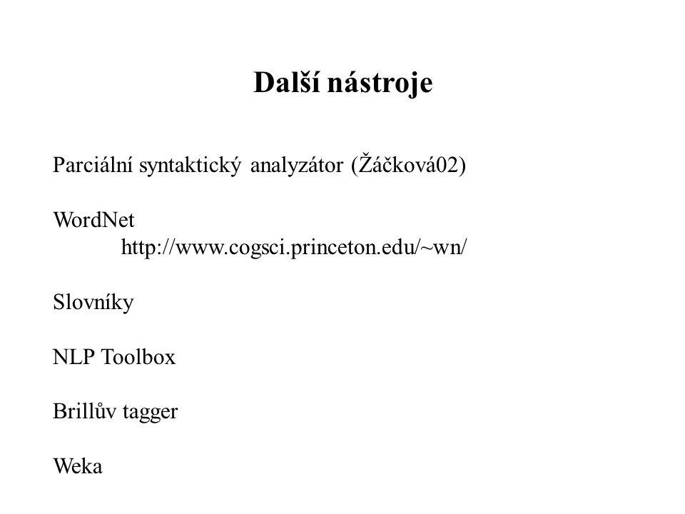 Další nástroje Parciální syntaktický analyzátor (Žáčková02) WordNet