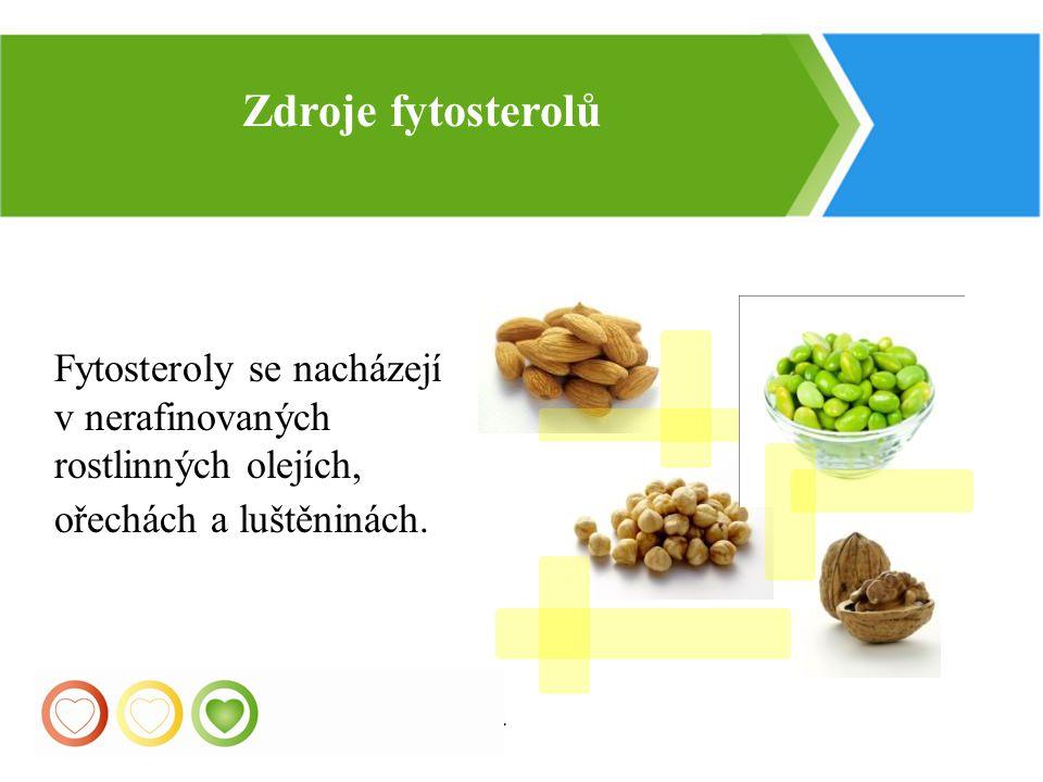 Zdroje fytosterolů Fytosteroly se nacházejí v nerafinovaných rostlinných olejích, ořechách a luštěninách.