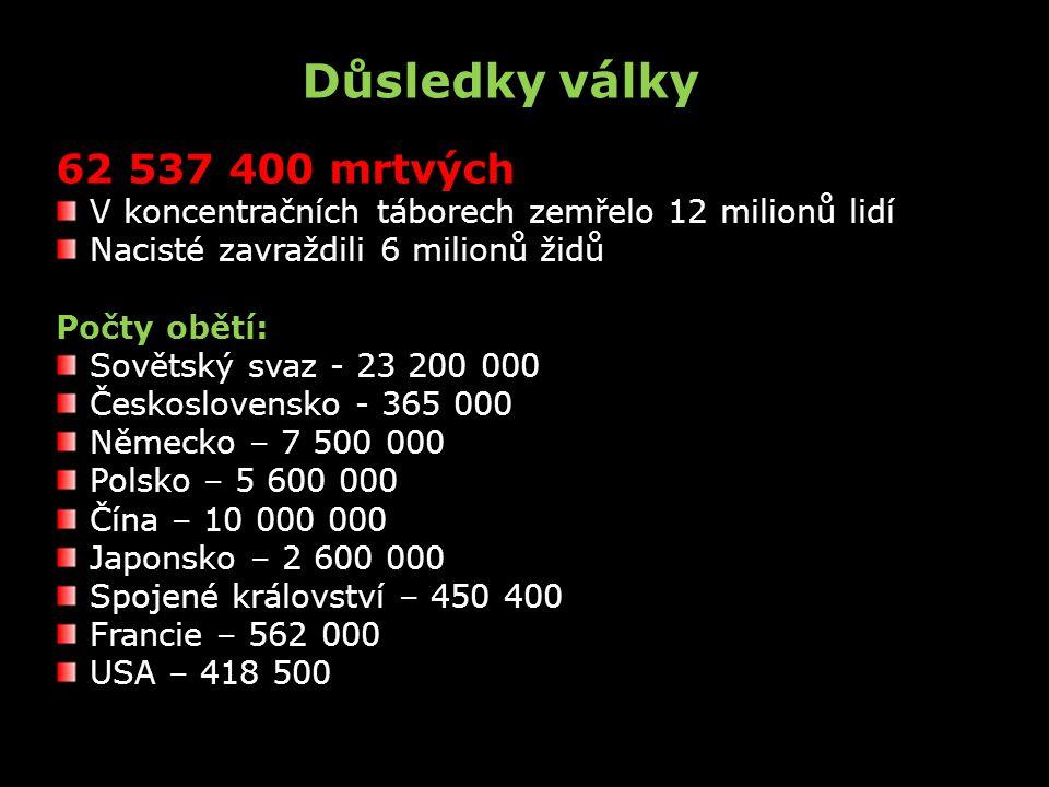 Důsledky války 62 537 400 mrtvých