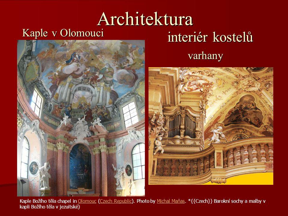 Architektura interiér kostelů Kaple v Olomouci varhany