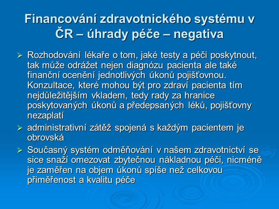 Financování zdravotnického systému v ČR – úhrady péče – negativa