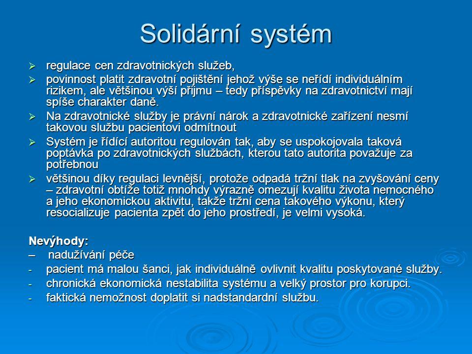 Solidární systém regulace cen zdravotnických služeb,