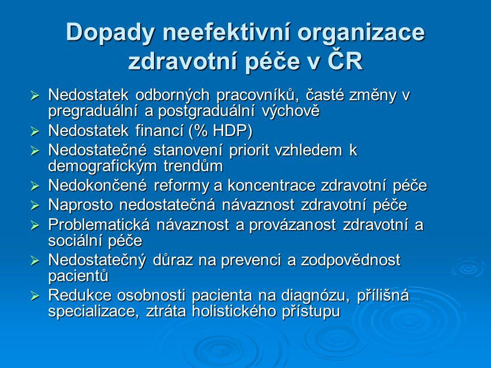 Dopady neefektivní organizace zdravotní péče v ČR