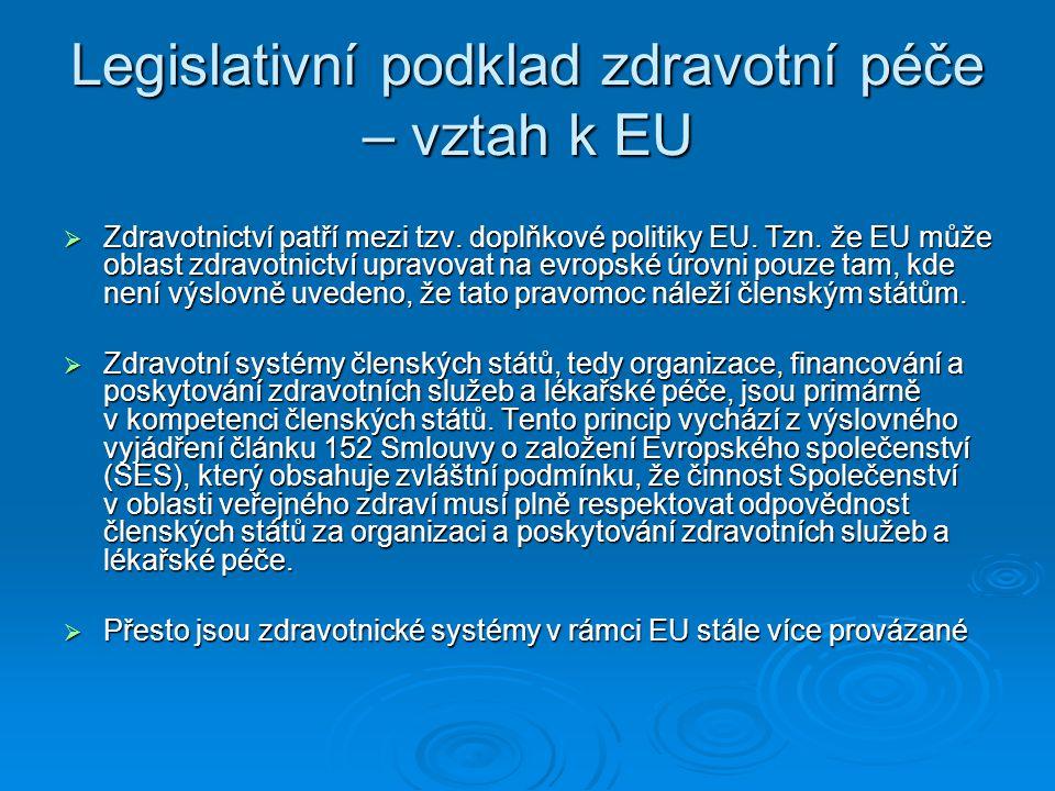 Legislativní podklad zdravotní péče – vztah k EU