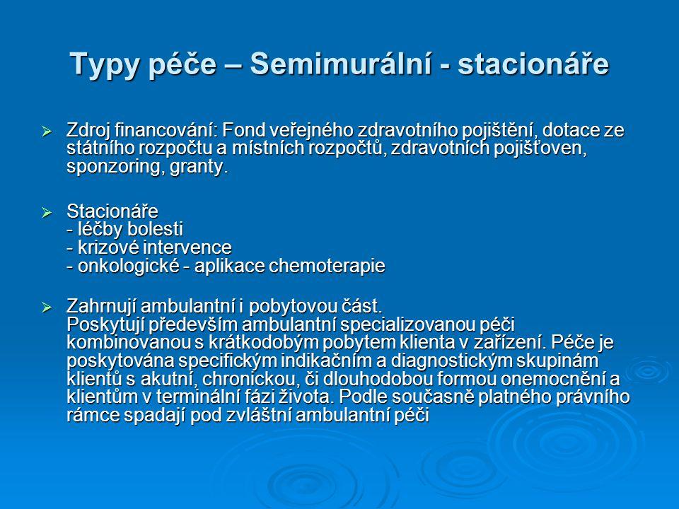 Typy péče – Semimurální - stacionáře