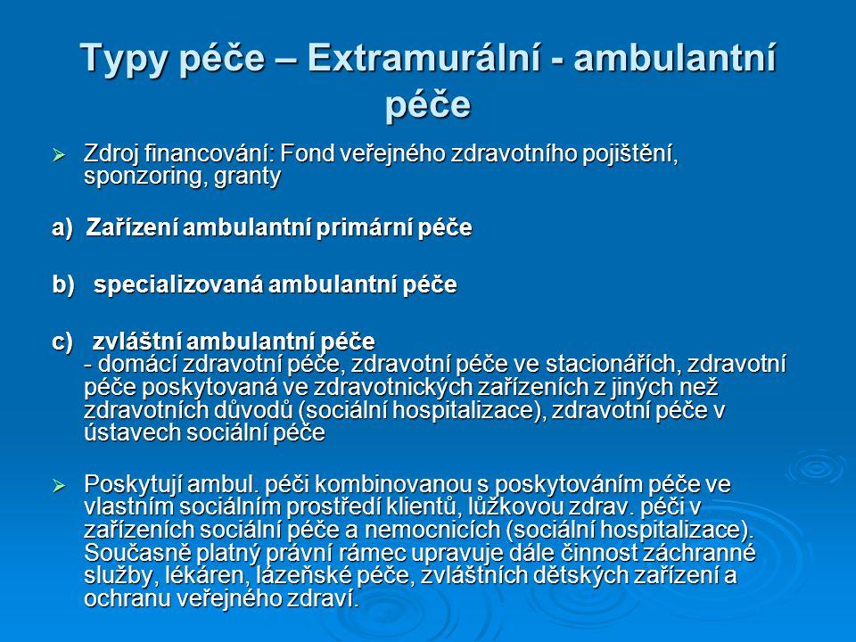 Typy péče – Extramurální - ambulantní péče
