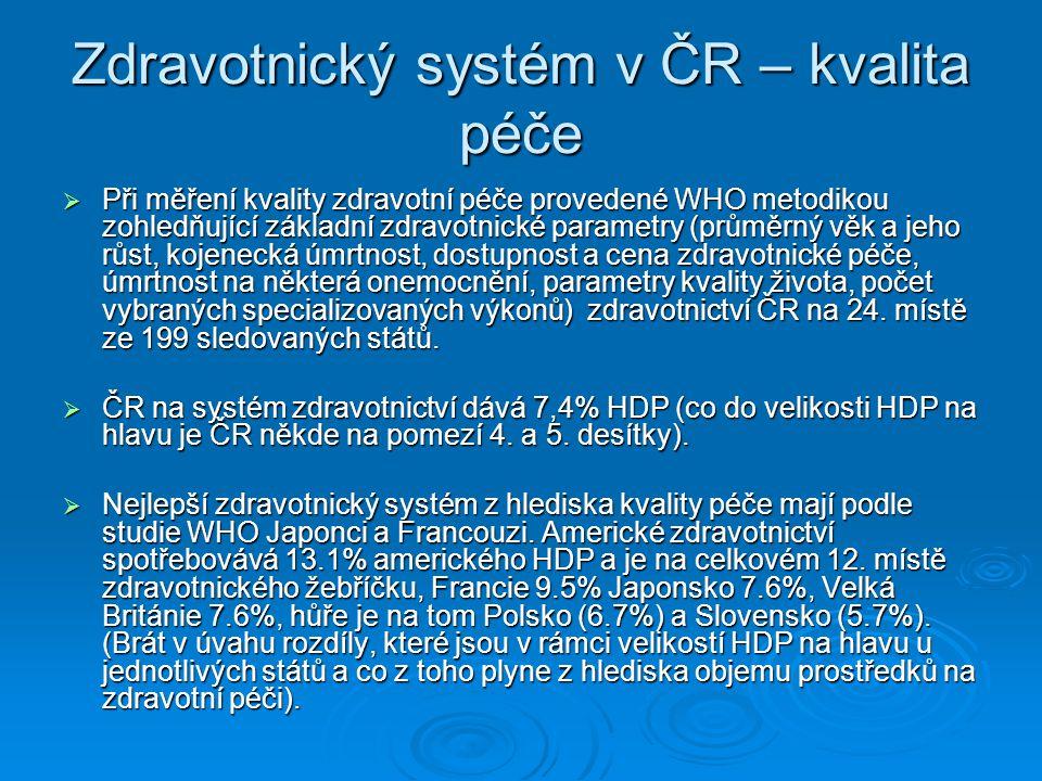 Zdravotnický systém v ČR – kvalita péče