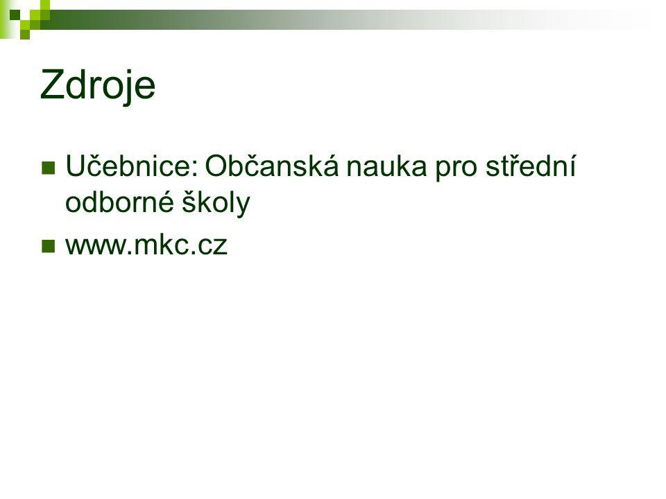 Zdroje Učebnice: Občanská nauka pro střední odborné školy www.mkc.cz