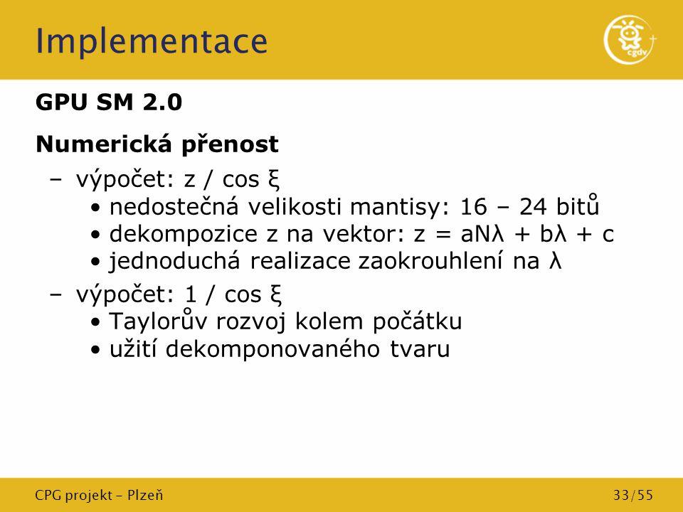 Implementace GPU SM 2.0 Numerická přenost výpočet: z / cos ξ