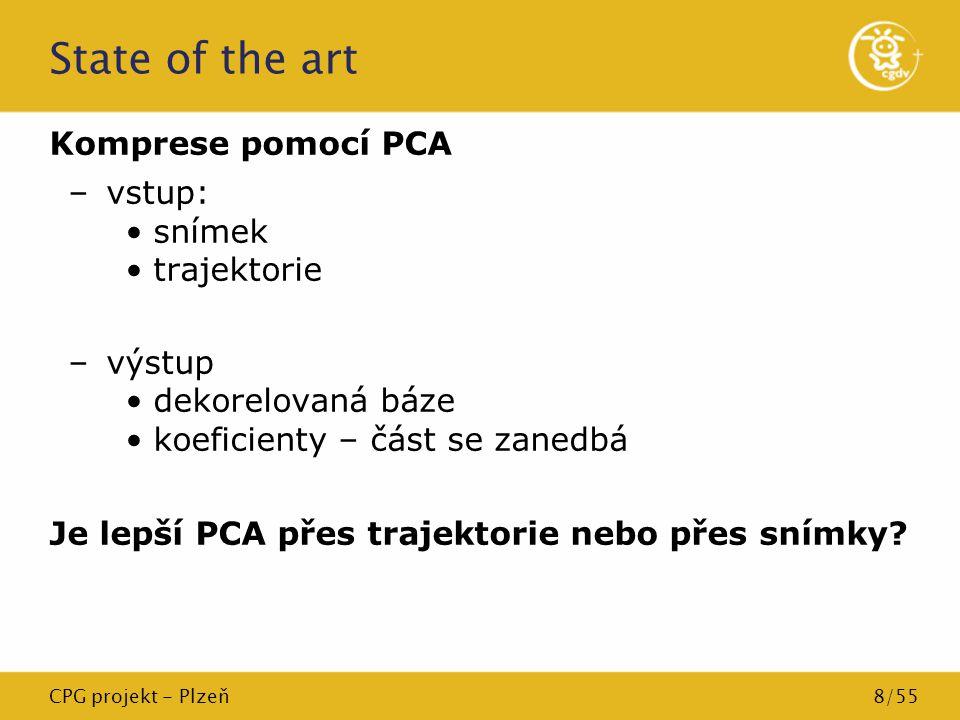 State of the art Komprese pomocí PCA vstup: snímek trajektorie výstup