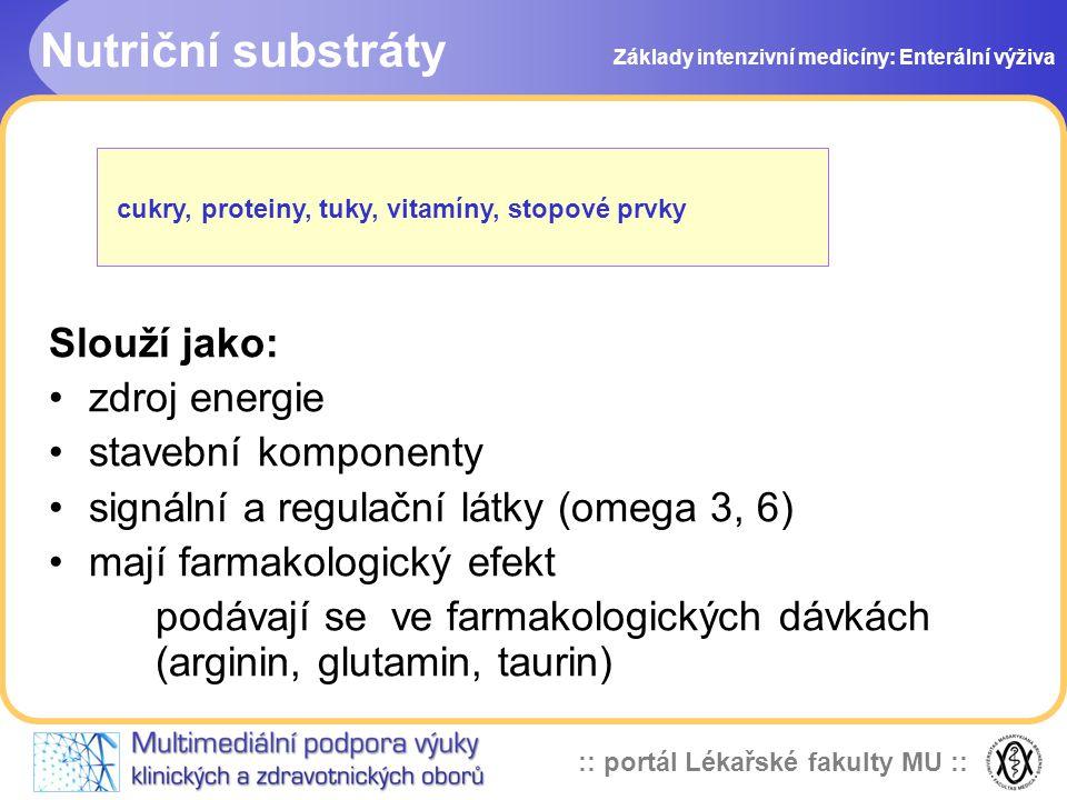 Nutriční substráty Slouží jako: zdroj energie stavební komponenty