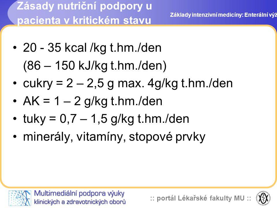 cukry = 2 – 2,5 g max. 4g/kg t.hm./den AK = 1 – 2 g/kg t.hm./den